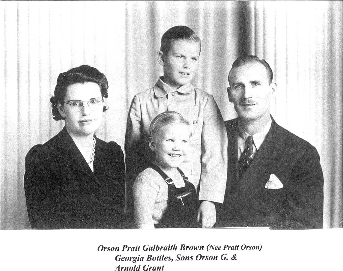 Georgia Kathleen Bottles Brown with sons Orson Galbraith Brown, Arnold Grant Brown and husband Orson Pratt Brown c. 1943