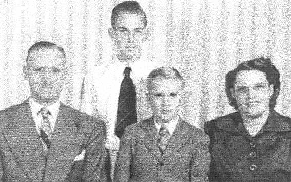 Orson Pratt Brown with sons and wife George Kathleen Bottles Brown c. 1947
