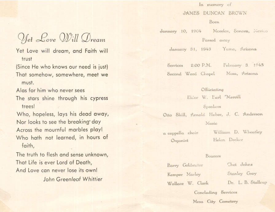 James Duncan Brown funeral program
