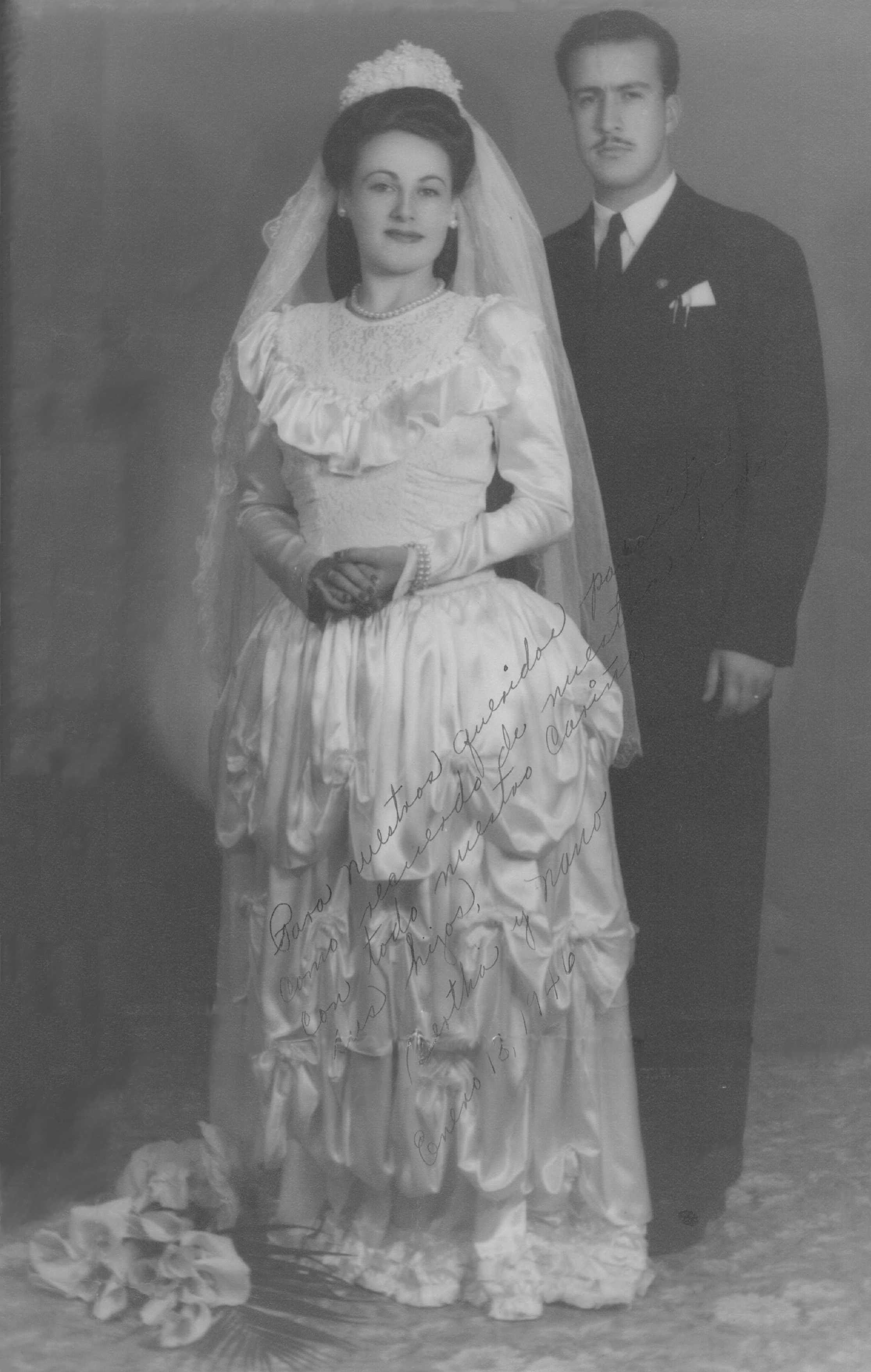 Bertha Brown and Everardo Navas wedding portrait January 18, 1946