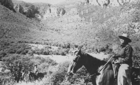 Picture of Orson Pratt Brown on horse