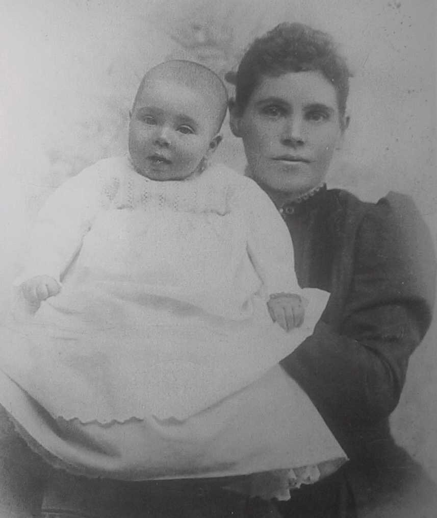 Clyde Romney Brown with his mother Martha Diana Romney Brown c. 1894